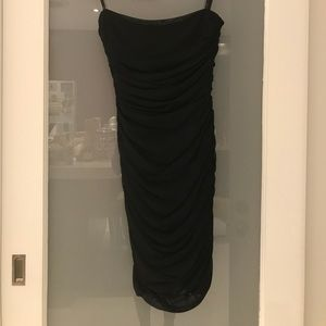 Tadashi Ruched Short Black Strapless Dress